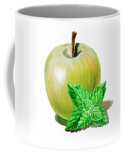 Coffee Mug featuring the painting Green Apple And Mint by Irina Sztukowski
