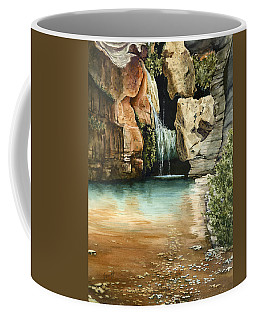 Coffee Mug featuring the painting Green Falls II by Sam Sidders