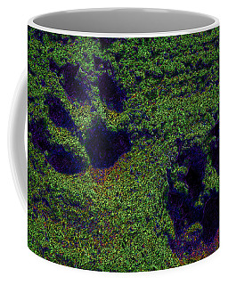 Green Glow Paw Prints Coffee Mug