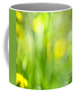 Green Grass With Yellow Flowers Abstract Coffee Mug