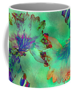 Green Hibiscus Mural Wall Coffee Mug