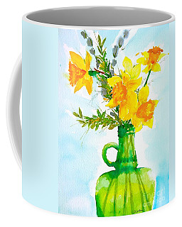 Bert's Green Jug Of Daffodils  Coffee Mug by Nancy Patterson