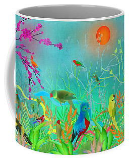 Green Landscape With Parrots - Limited Edition Of 15 Coffee Mug