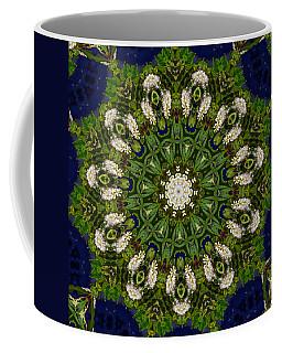Green Leaf White Flower Mandala Coffee Mug