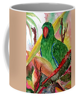 Green Parrot Coffee Mug by Lil Taylor