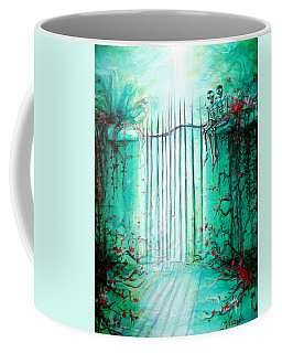 Coffee Mug featuring the painting Green Skeleton Gate by Heather Calderon
