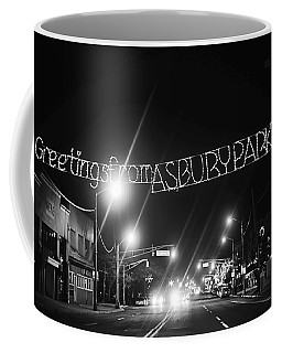 Greetings From Asbury Park New Jersey Black And White Coffee Mug