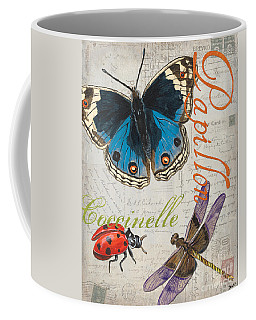 Grey Postcard Butterflies 4 Coffee Mug