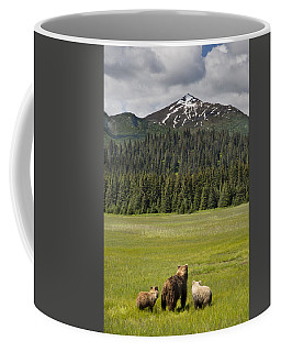 Grizzly Bear Mother And Cubs In Meadow Coffee Mug