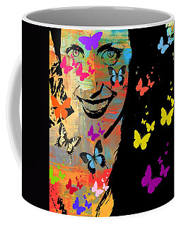 Groovy Butterfly Gal Coffee Mug by Kathy Barney