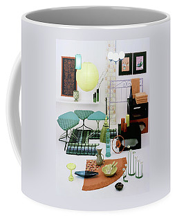 Group Of Furniture And Decorations In 1960 Colors Coffee Mug