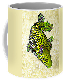 Guinea Fowl Puffer Fish In Green Coffee Mug