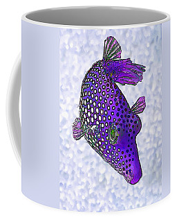 Guinea Fowl Puffer Fish In Purple Coffee Mug