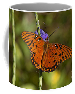 Coffee Mug featuring the photograph Gulf Fritillary Butterfly by Meg Rousher