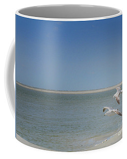 Coffee Mug featuring the photograph Gulls In Flight by Erika Weber