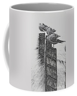 Gulls In Pencil Effect Coffee Mug by Linsey Williams