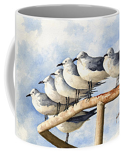 Coffee Mug featuring the painting Gulls by Sam Sidders
