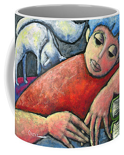 Coffee Mug featuring the painting Haciendo Tareas En Mi Cuarto by Oscar Ortiz