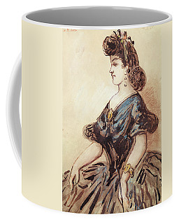 Half Length Portrait Of A Woman Wc And Ink On Paper Coffee Mug