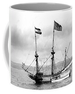 Half Moon Re-entered Hudson River After An Absence Of 300 Years In Black And White Coffee Mug