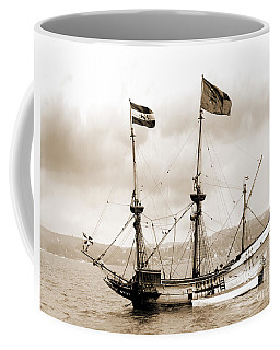 Half Moon Re-entered Hudson River After An Absence Of 300 Years In Sepia Tone Coffee Mug