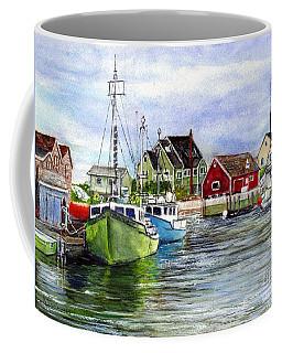 Peggys Cove Nova Scotia Watercolor Coffee Mug
