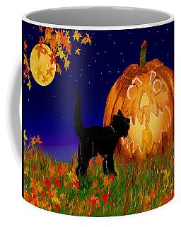 Halloween Black Cat Meets The Giant Pumpkin Coffee Mug
