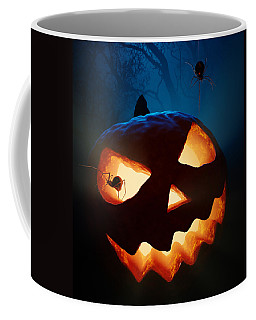 Halloween Pumpkin And Spiders Coffee Mug