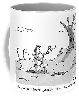 Hamlet Kneels In The Graveyard Holding The Skull Coffee Mug