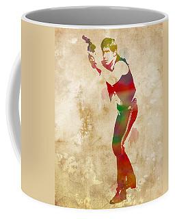 Han Solo Star Wars Watercolor Portrait On Worn Distressed Canvas Coffee Mug