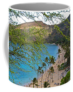 Hanauma Bay Nature Preserve Beach Through Monkeypod Tree Coffee Mug