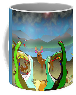 Hands And Deer Coffee Mug