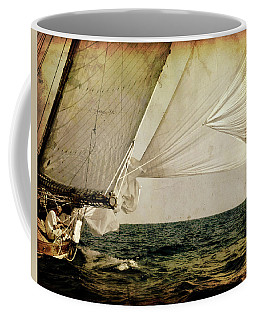 Coffee Mug featuring the photograph Hanged On Wind In A Mediterranean Vintage Tall Ship Race  by Pedro Cardona