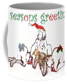Coffee Mug featuring the painting Happy Girls Holiday Card by Carolyn Weltman