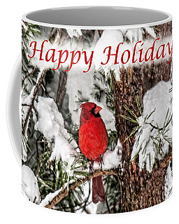 Coffee Mug featuring the photograph Happy Holidays Cardinal  by Lara Ellis