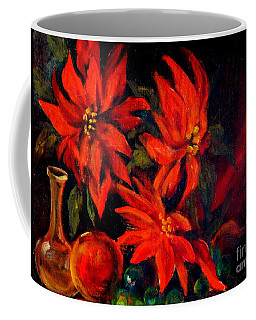 Coffee Mug featuring the painting New Orleans Red Poinsettia Oil Painting by Michael Hoard