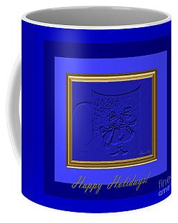 Coffee Mug featuring the digital art Happy Holidays. Royal Blue by Oksana Semenchenko