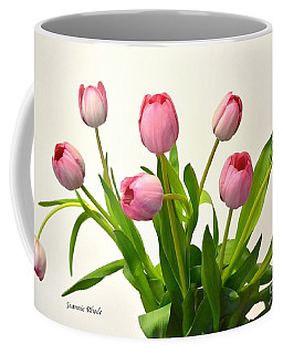 Coffee Mug featuring the digital art Happy Spring Pink Tulips 2 by Jeannie Rhode