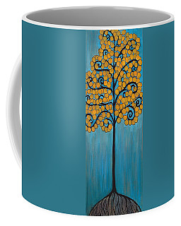 Happy Tree In Blue And Gold Coffee Mug