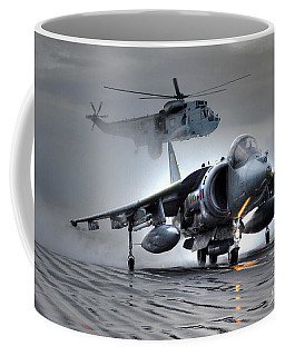 Harrier Gr9 Takes Off From Hms Ark Royal For The Very Last Time Coffee Mug by Paul Fearn