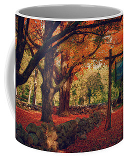 Coffee Mug featuring the photograph Hartwell Tavern Under Orange Fall Foliage by Jeff Folger