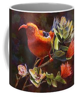 Hawaiian IIwi Bird And Ohia Lehua Flower Coffee Mug by Karen Whitworth