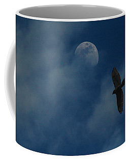 Hawk And Moon Coming Out Of The Mist Coffee Mug
