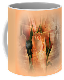 Coffee Mug featuring the photograph Hazy Apricot Beauty Rose Abstract by Judy Palkimas