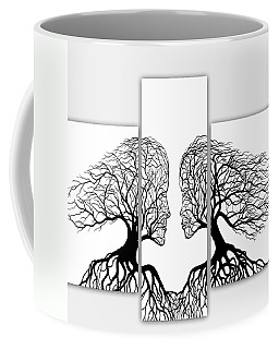 He And She In Love Triptych Acrylic On Canvas Coffee Mug