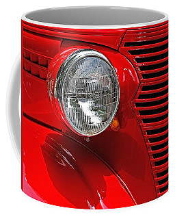 Headlight On Red Car Coffee Mug by Ludwig Keck
