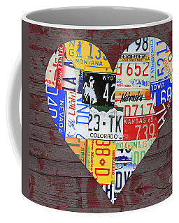 Heart Of America Usa Heartland Map License Plate Art On Red Barn Wood Coffee Mug