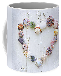 Heart Of Seashells And Rocks Coffee Mug