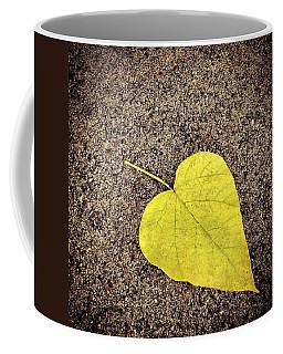 Heart Shaped Leaf On Pavement Coffee Mug