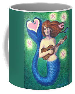 Coffee Mug featuring the painting Heart Tail Mermaid by Sue Halstenberg